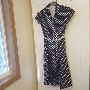 Bettie Page Las Vegas Dress Polka-dot Navy White M